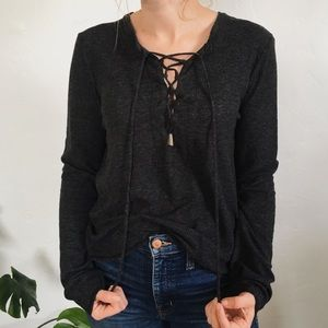 Charcoal lace up waffle shirt